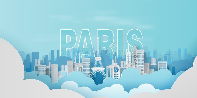 Art de papier de ville de déplacement France, concept de Paris de Tour Eiffel de vacances de paysage de couleur en pastel de vill illustration stock