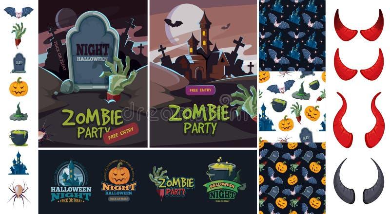 Art de paquet de Halloween symboles mauvais de batte de potiron illustration libre de droits