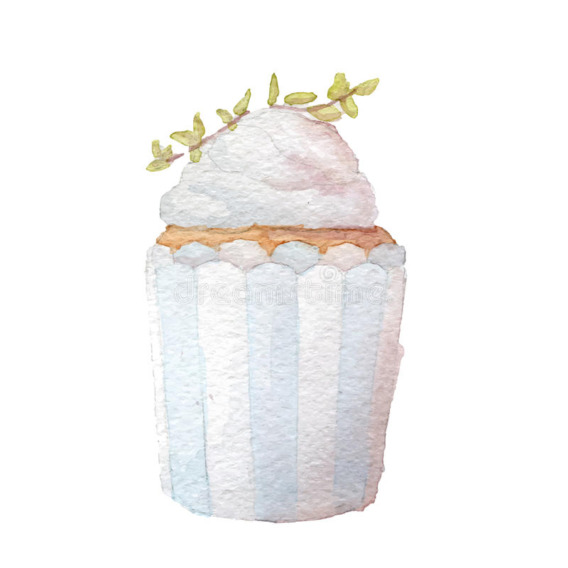 Art de petit gâteau d'aquarelle illustration stock