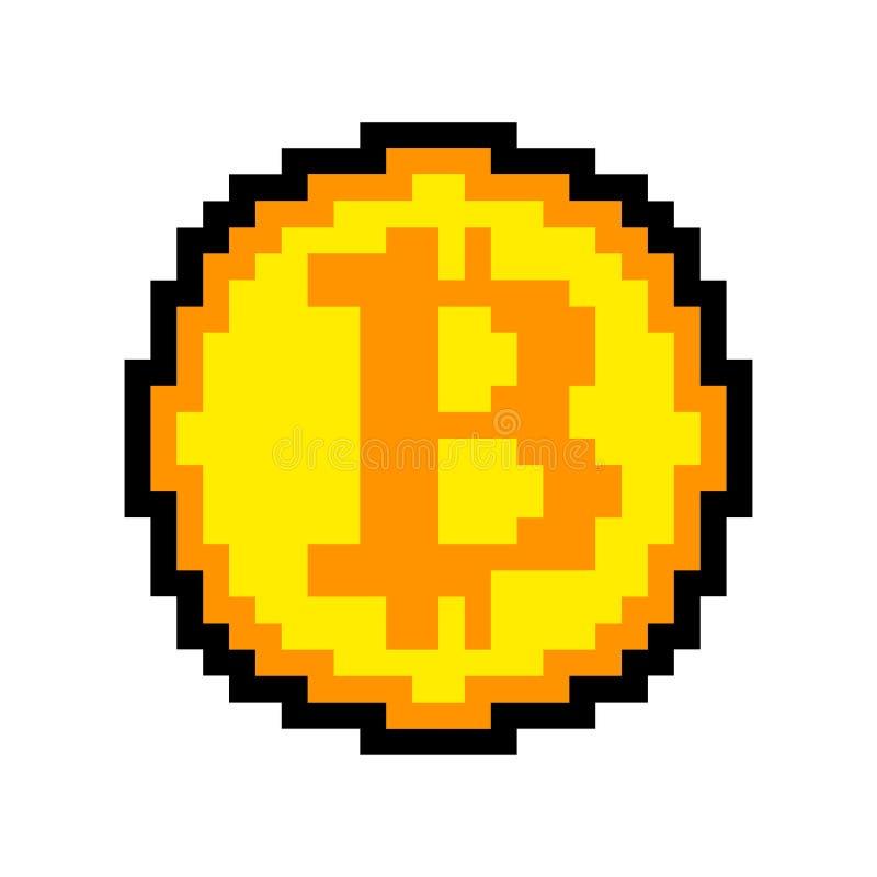 Art de pixel de Bitcoin d'isolement crypto bit de la devise 8 Cryptocurrenc illustration stock