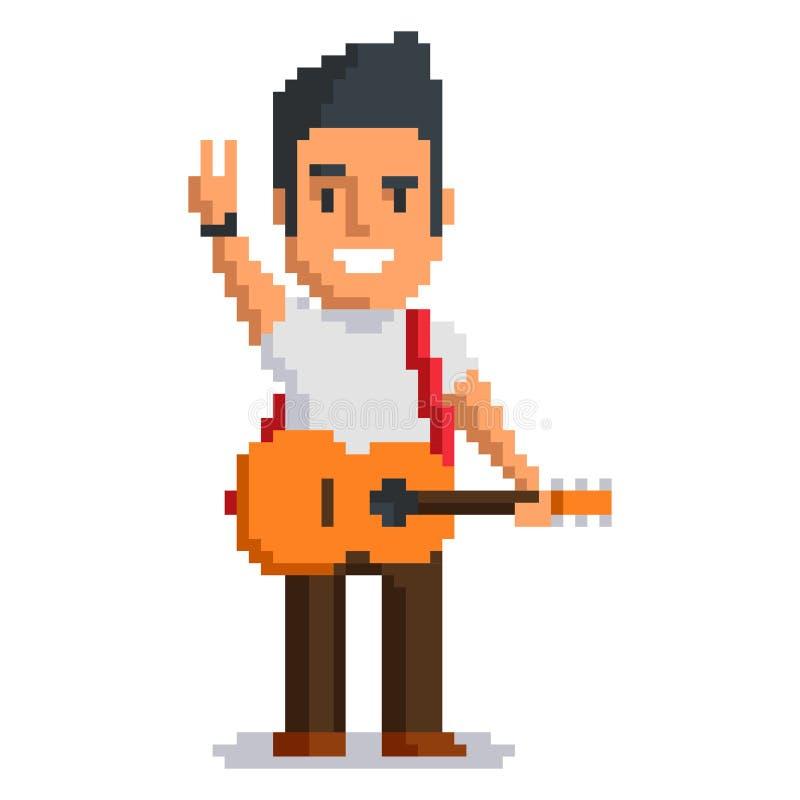 Art de pixel de musicien illustration de vecteur