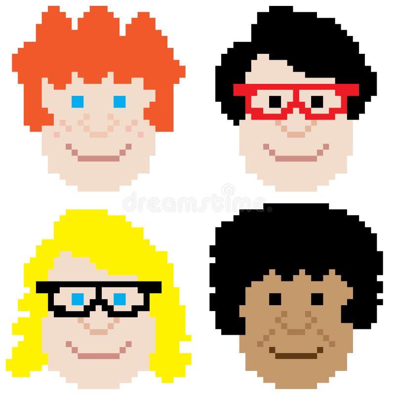Art de pixel de visage de garçon illustration libre de droits
