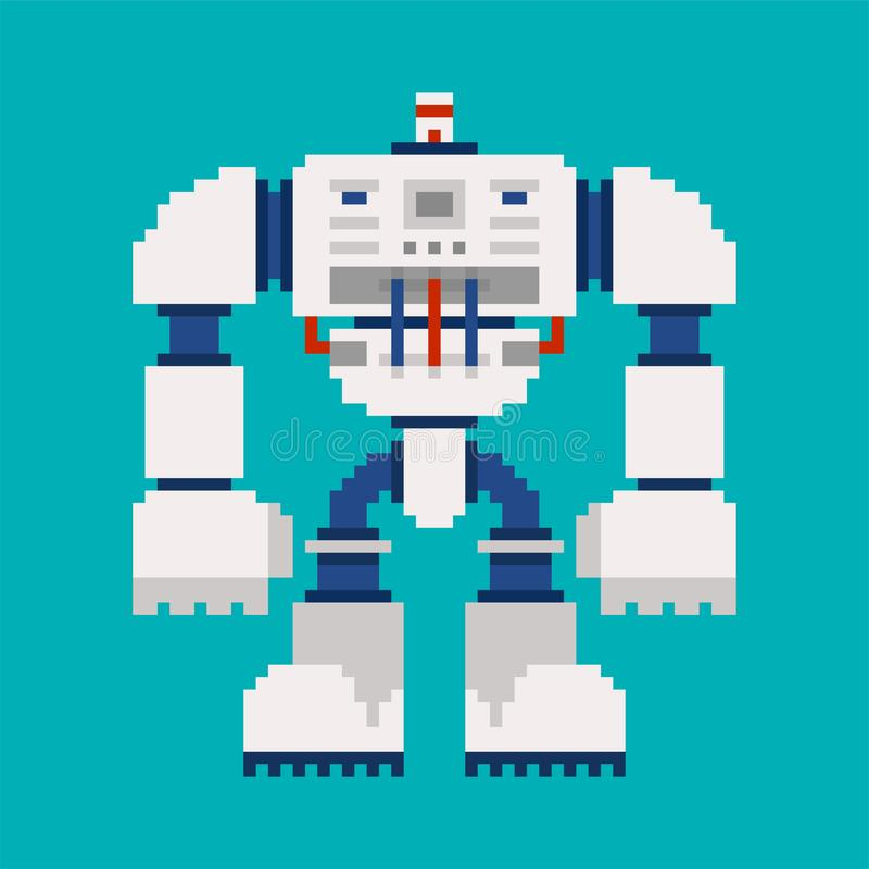 Art de pixel de robot avenir de guerrier de cyborg de 8 bits Vecteur Illustratio illustration stock