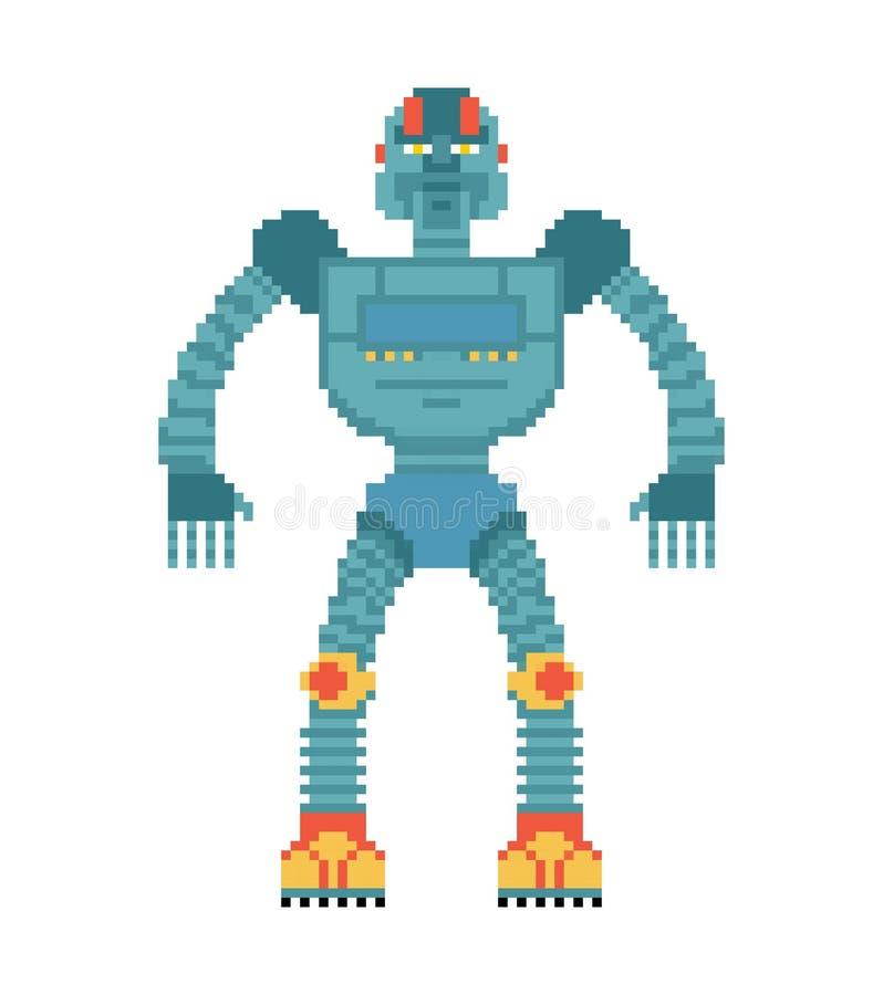 Art de pixel de robot Style mordu du cyborg 8 Vieux graphiques de jeu illustration libre de droits