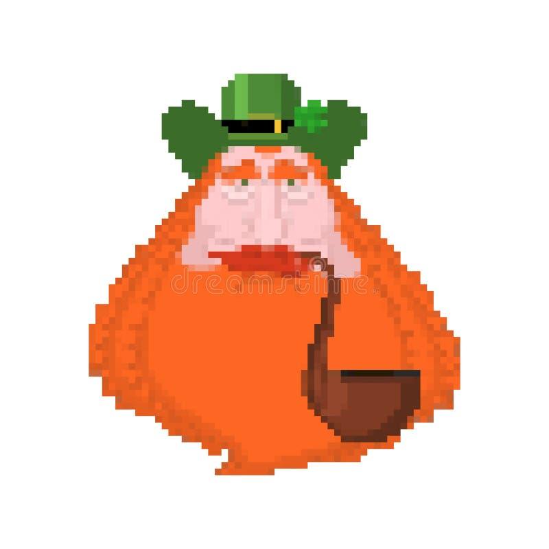Art de pixel de visage de lutin 8bit Vacances de l'Irlande Jour du ` s de St Patrick Vacances irlandaises traditionnelles illustration de vecteur