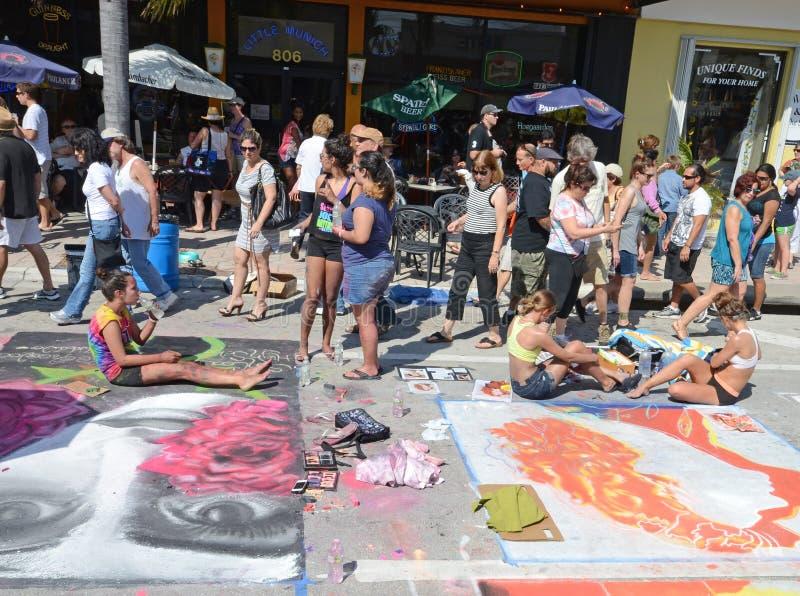 Art de rue dans le lac de craie en valeur FL image libre de droits