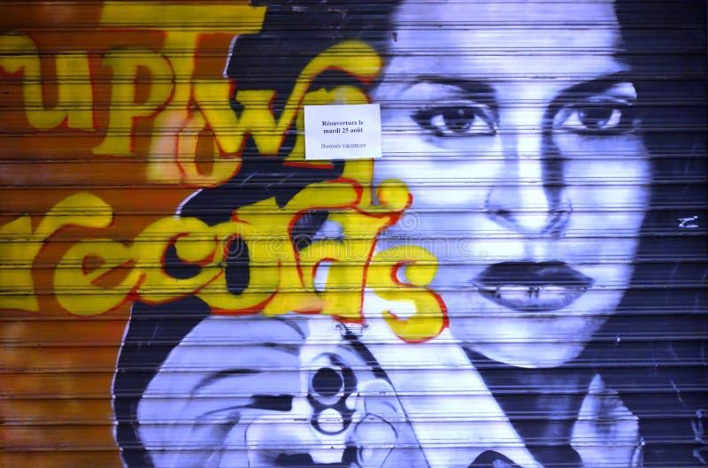 Art de rue de graffiti sur des murs de Paris photos libres de droits