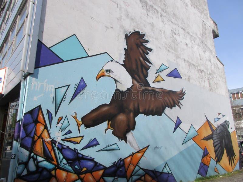 Art de rue, Eagle, Reykjavik, Islande images stock