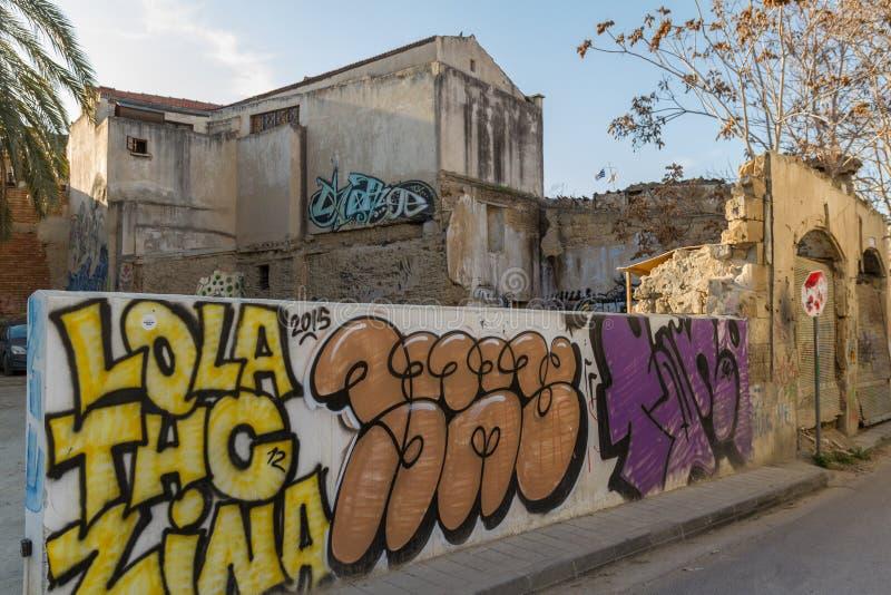 Art de rue et centre de la ville de Nicosie de bâtiments de Derelct vieux photos libres de droits