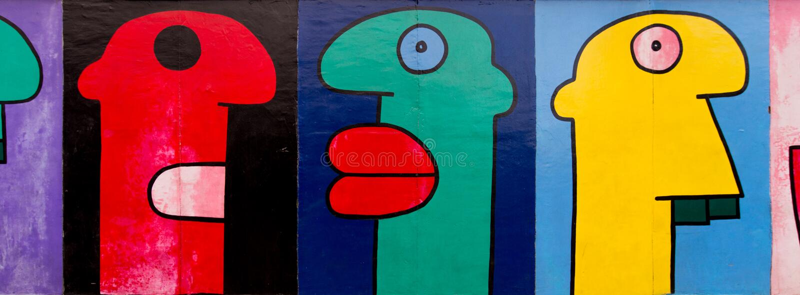 Art de rue de galerie de côté est à la rue publique à Berlin image libre de droits