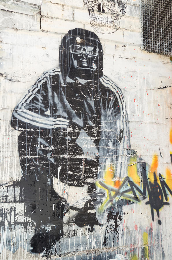 Art de rue par un artiste inconnu dans Collingwood, Melbourne photographie stock