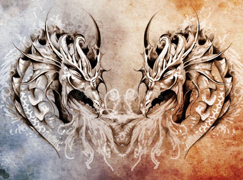 Art de tatouage, coeur médiéval de dragons d'imagination illustration libre de droits