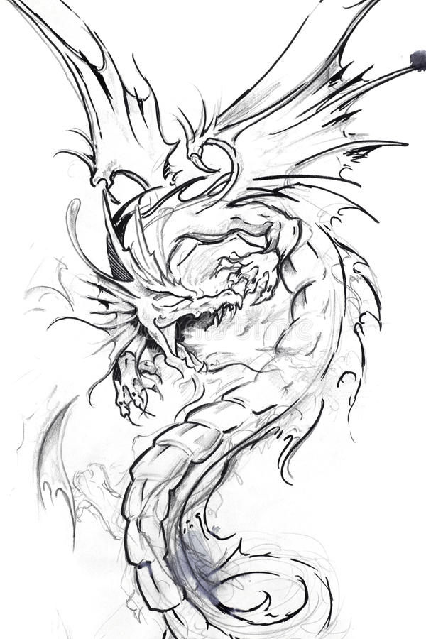 Art de tatouage, croquis d'un dragon illustration stock