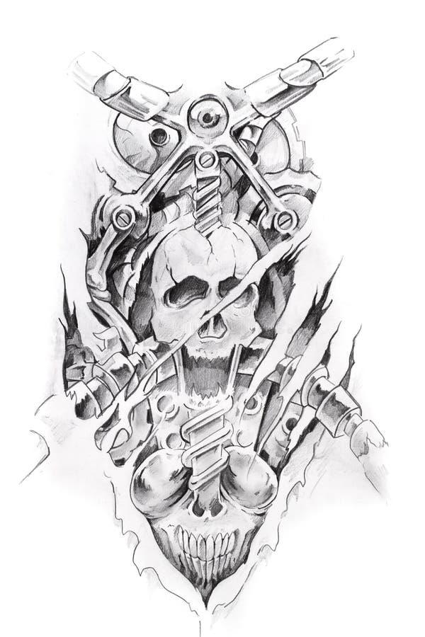 Art de tatouage, croquis d'une machine illustration libre de droits