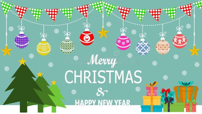 Art de vacances de Noël ou de nouvelle année Illustration de vecteur Cartes de voeux, affiche ou bannière image libre de droits