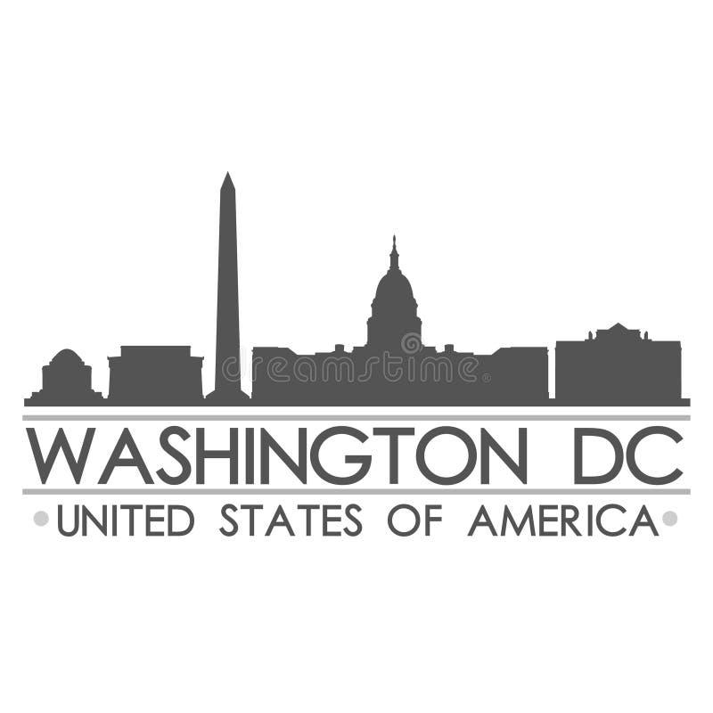 Art de vecteur de ville de conception de silhouette d'horizon de Washington DC illustration stock