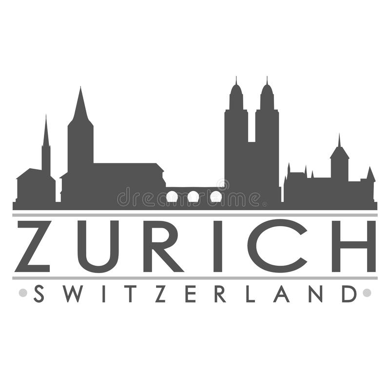 Art de vecteur de ville de conception de silhouette de Zurich illustration libre de droits