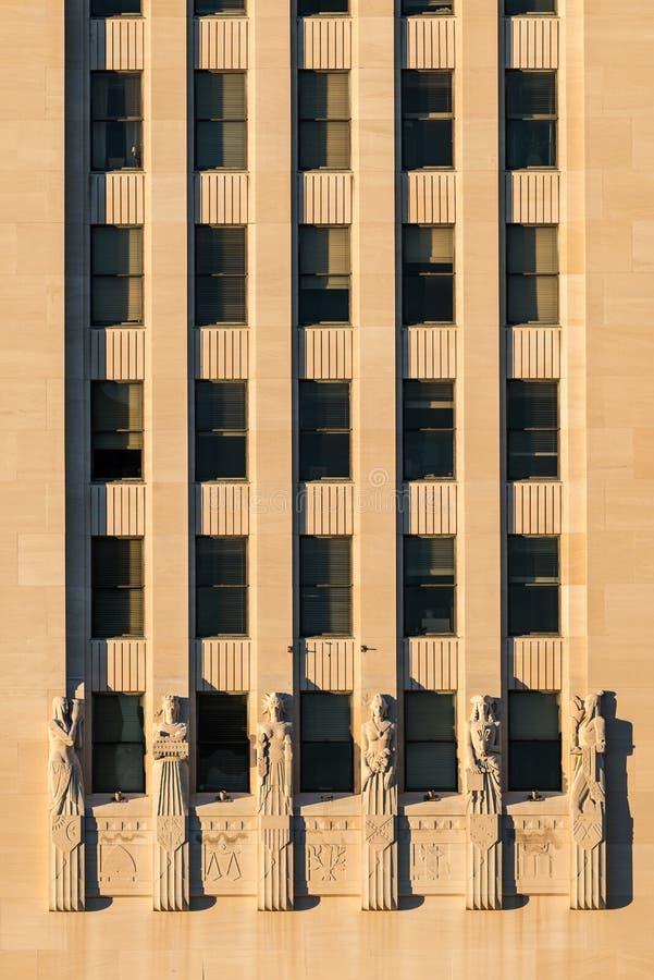Art Deco ściana Luizjana Capitol obraz stock