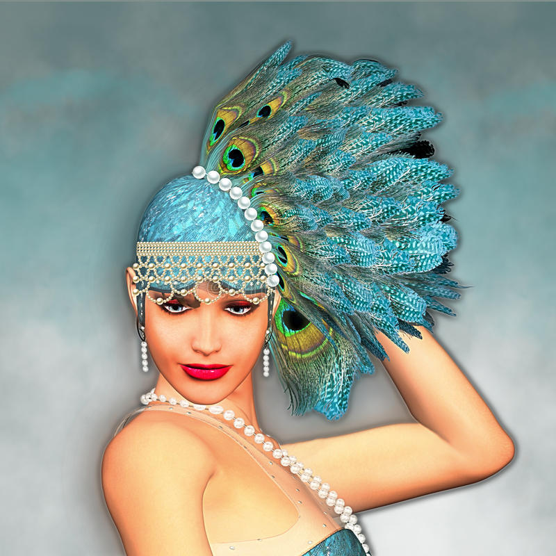 Free Art Deco 1920 S Fantasy Flapper Girl Portrait Royalty Free Stock Image - 56723536