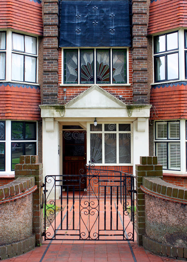 Art deco aparment Hove. The entrance to an art deco block of flats in Hove Sussex England stock photos