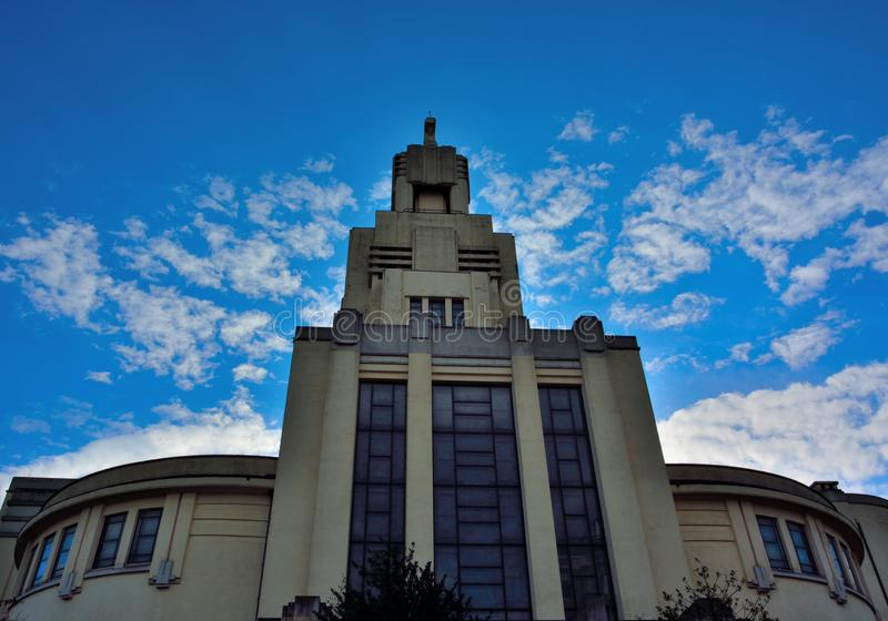 Art Deco architecture in Brussels,modern Church royalty free stock image
