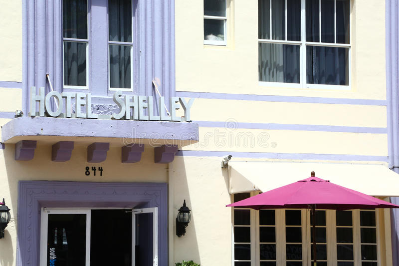 Art Deco architecture in Miami Beach. Miami Beach, Florida, USA - August 2015: the facade of hotel Shelley, painted in delicate colors typical of Art Deco of royalty free stock photos