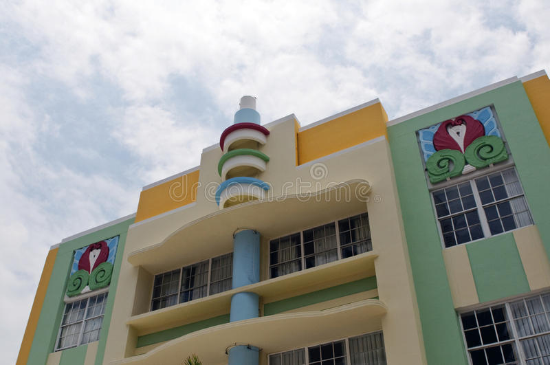 Art Deco Architecture Ocean Drive in South Beach, Miami. Ocean Drive hotels and buildings on Miami Beach, Florida. Art Deco architecture in South beach is one of stock image