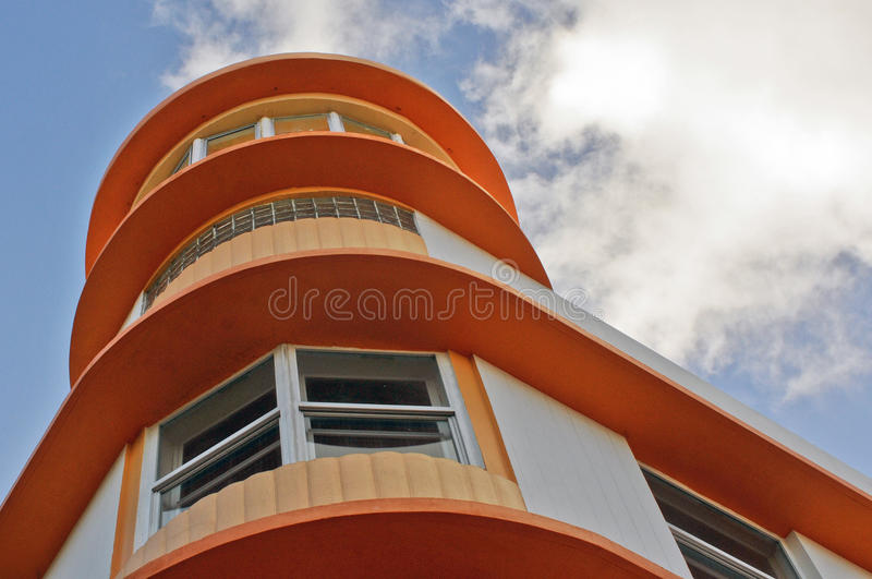 Art Deco Architecture Ocean Drive in South Beach, Miami. Ocean Drive hotels and buildings on Miami Beach, Florida. Art Deco architecture in South beach is one of royalty free stock image