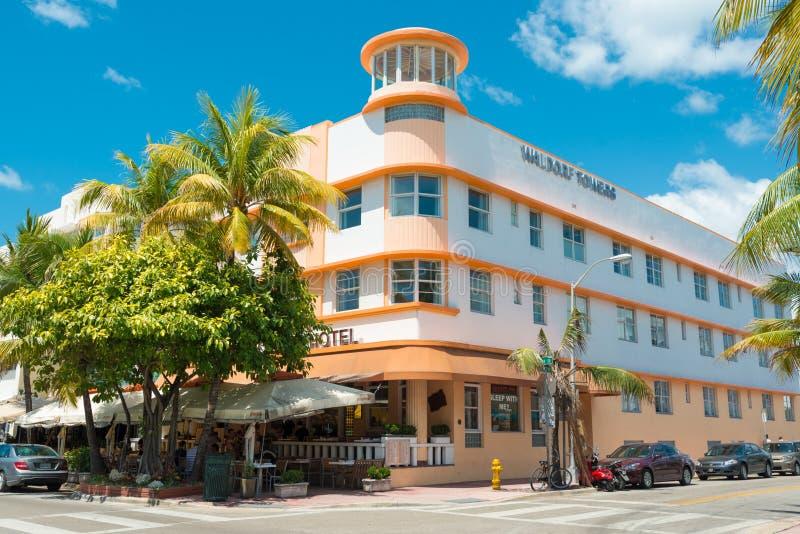 art deco architecture at ocean drive in south beach miami editorial