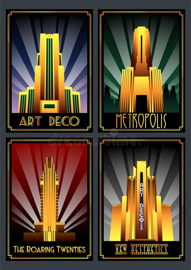 Art Deco Architecture Poster Set stock abbildung