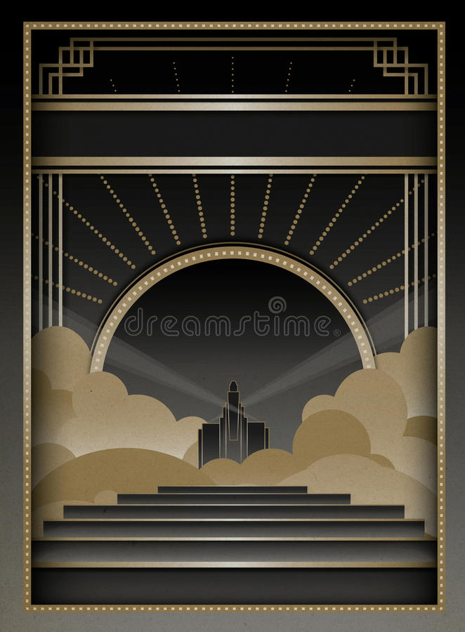 Art Deco Background and Frame vector illustration