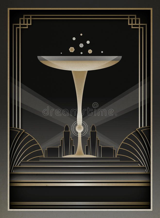 Art Deco Background och ram royaltyfri illustrationer
