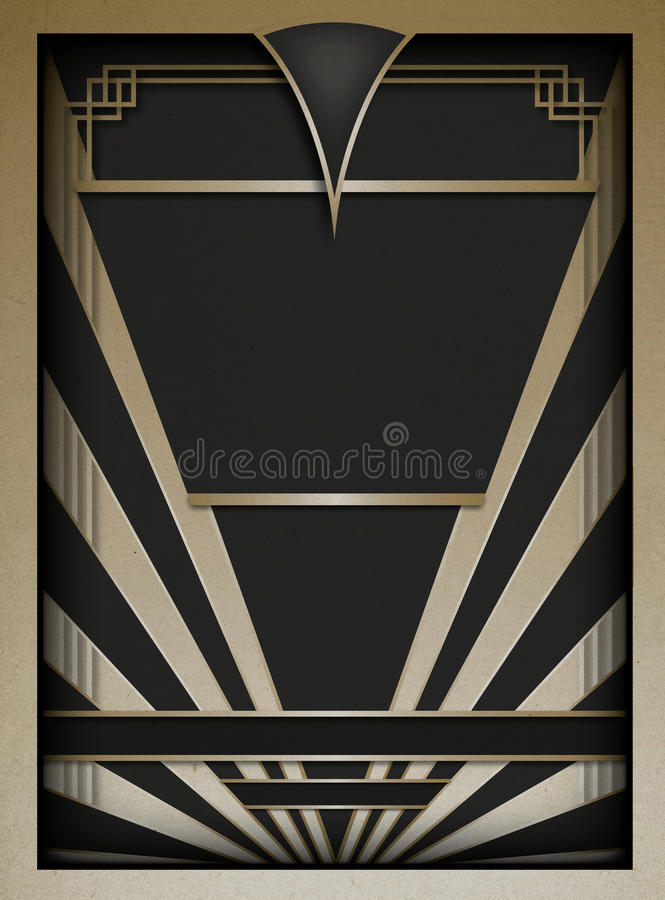 Art Deco Background och ram royaltyfri illustrationer
