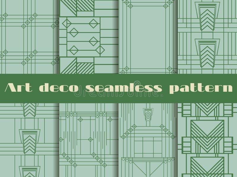 Art Deco bezszwowi wzory Wzór linie i geometryczni kształty Stylowi 1920's, 1930's również zwrócić corel ilustracji wektora ilustracja wektor