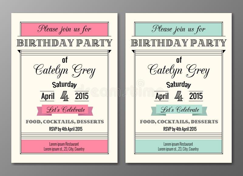 Art Deco Birthday Party Invitation ilustración del vector