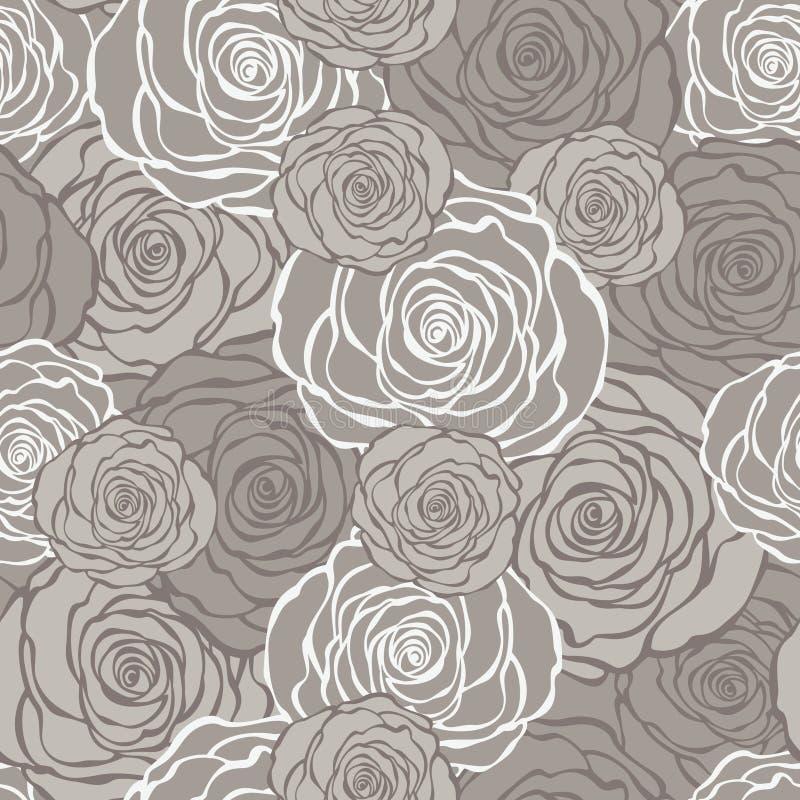 Art Deco blom- sömlös modell med rosor vektor illustrationer