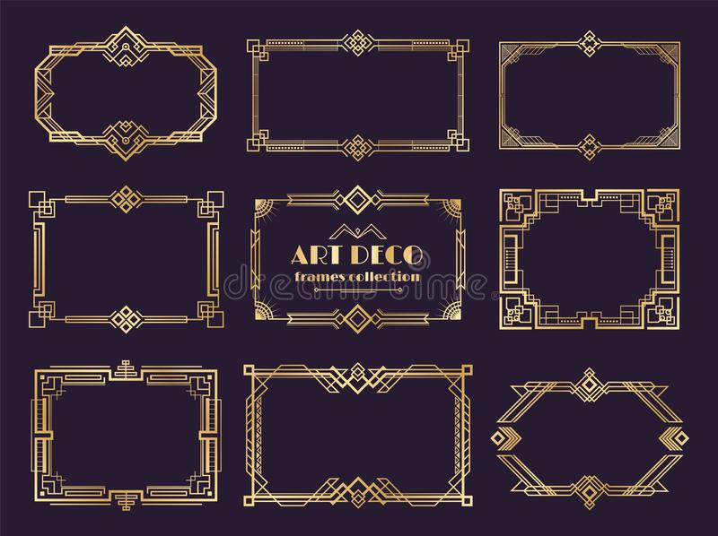 Art deco borders set. Golden 1920s frames, nouveau luxury geometric style, abstract vintage ornament. Vector art deco royalty free illustration