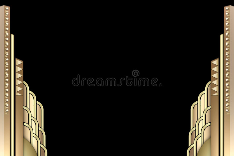 Art Deco building border. An abstract frame using art deco buildings