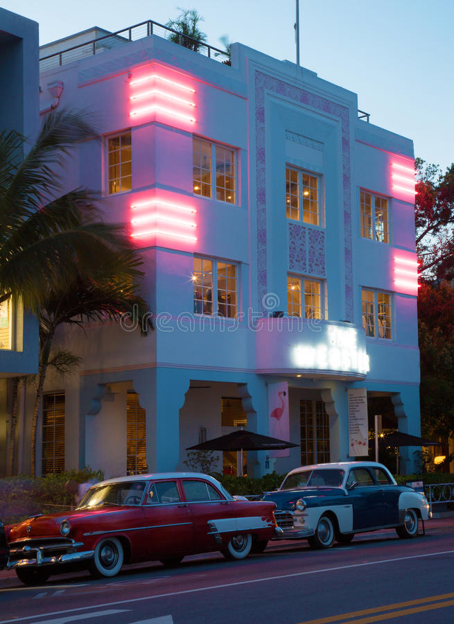 art deco building at dusk in miami beach editorial photography