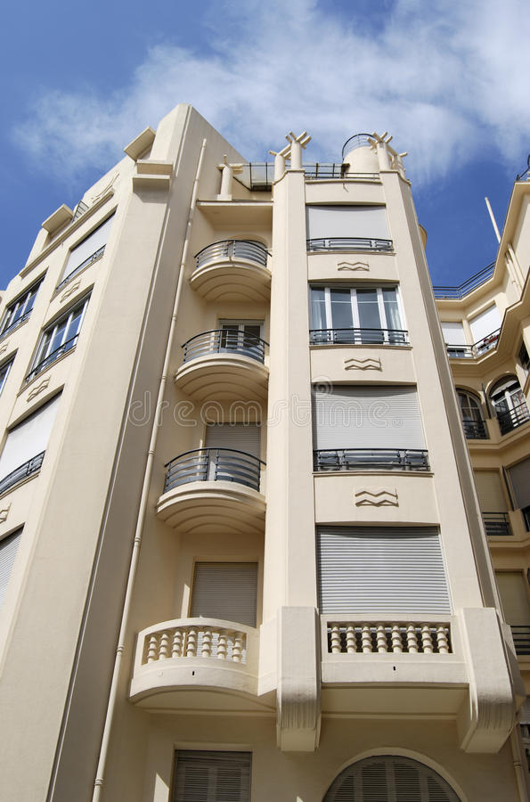 Art Deco building facade in Nice. France royalty free stock image