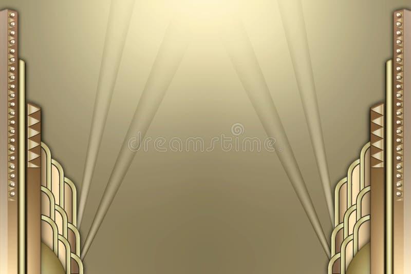 Art deco building frame w/spotlights. A border of art deco building shapes