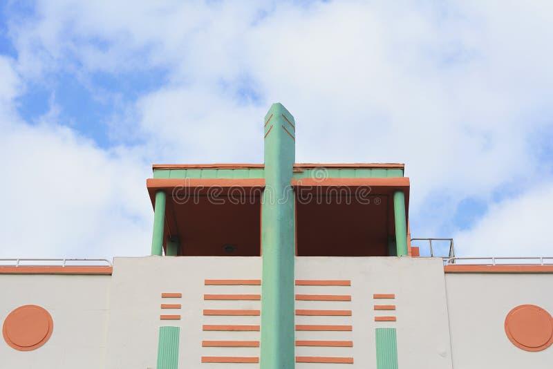 Art Deco byggnader i Miami, Florida arkivbilder