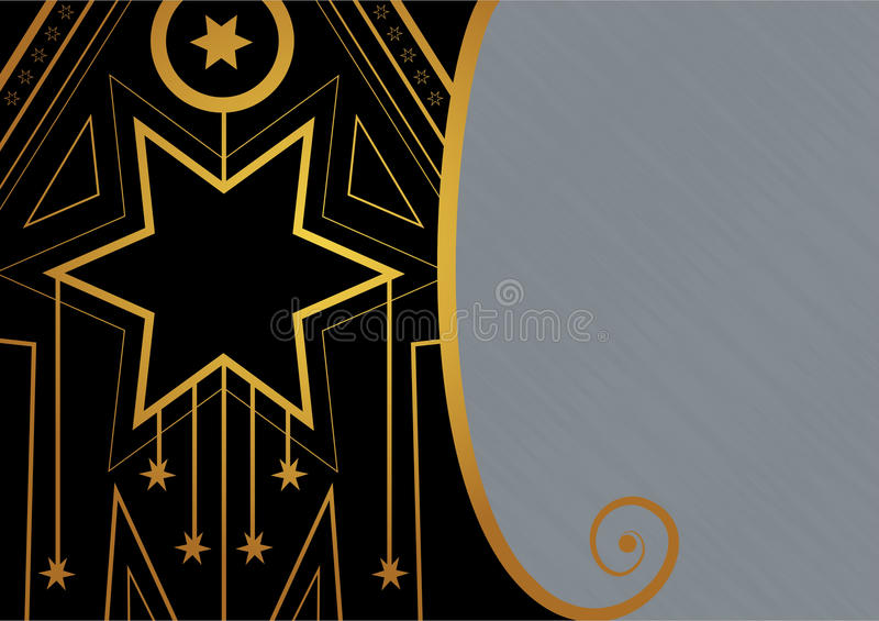 Art Deco Christmas Star Border stock illustration