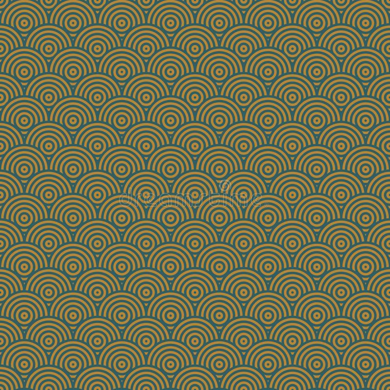 Art Deco Cirles Seamless Vector Pattern Gold and Teal royalty free stock image