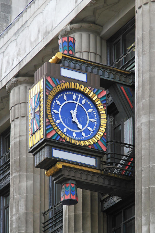Art deco clock. At Fleet street in London royalty free stock photos