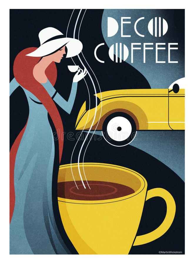 Art Deco Coffee Poster royalty-vrije stock foto