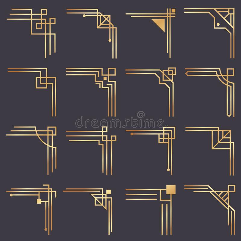 Free Art Deco Corner. Modern Graphic Corners For Vintage Gold Pattern Border. Golden 1920s Fashion Decorative Lines Frame Stock Images - 130698544