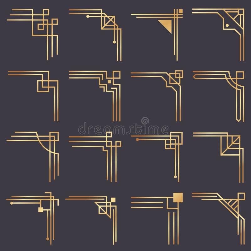 Art deco corner. Modern graphic corners for vintage gold pattern border. Golden 1920s fashion decorative lines frame. Or vector ornaments geometric frames stock illustration