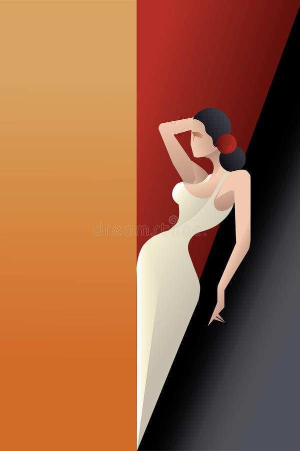 Art Deco a dénommé le danseur de flamenco de l'Espagne illustration stock