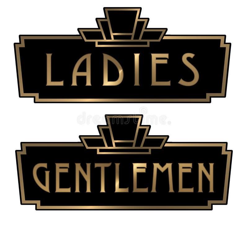Art Deco dżentelmenów i dam toalety znaki ilustracja wektor
